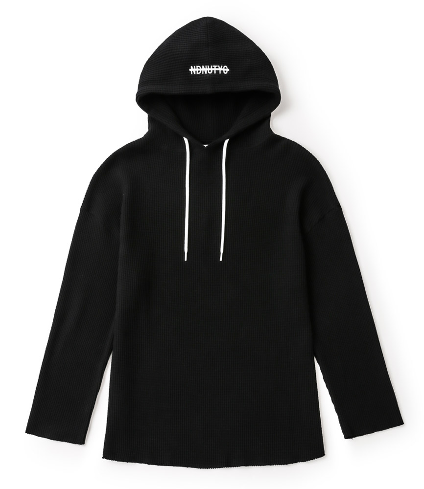 PULLOVER WAFFLE HOODIE / BLK