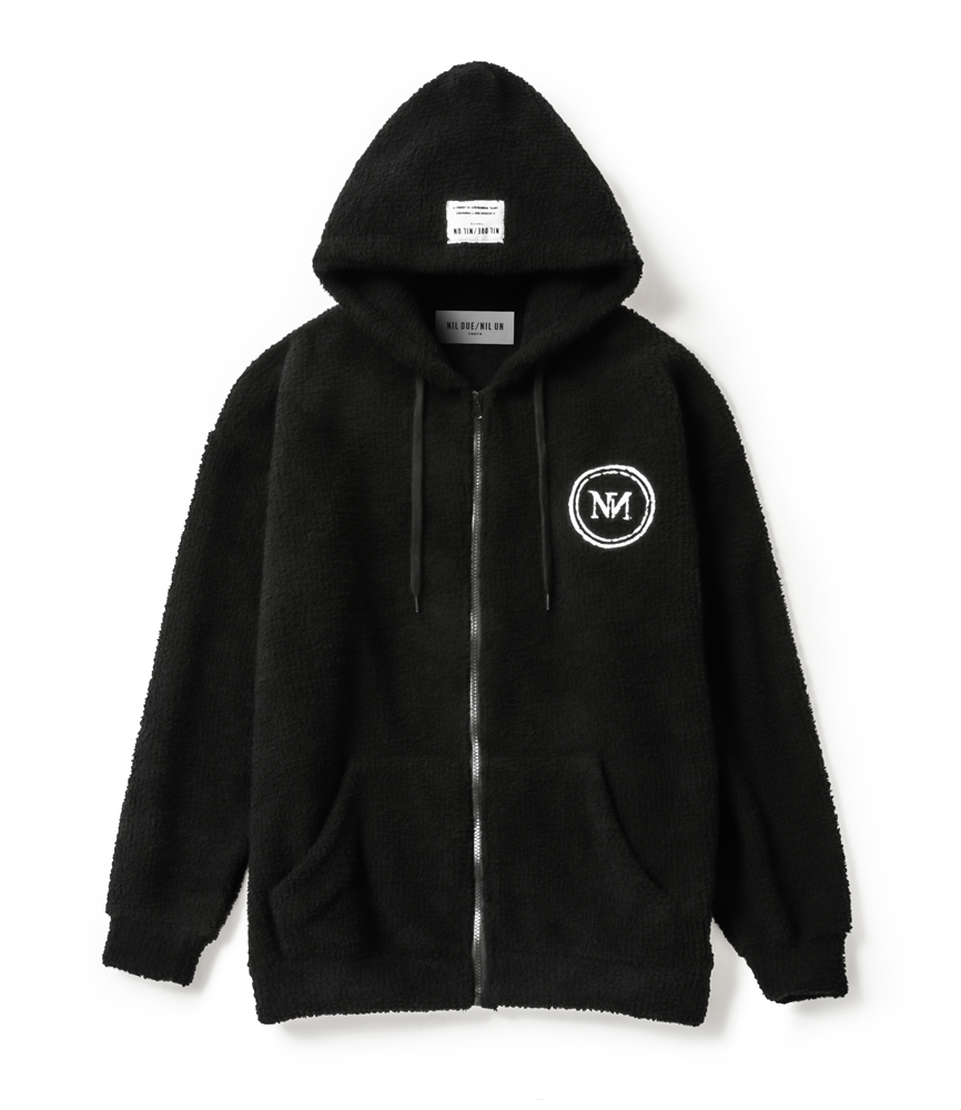 PLUG LOGO  ZIP HOOD SET UP / BLK