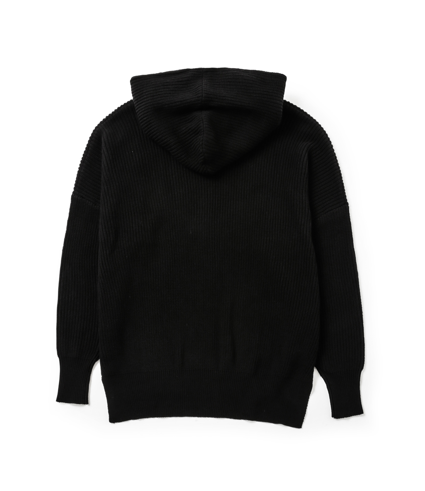 SIDE SPLIT LONG KNIT HOODIE / BLK