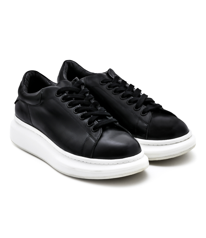 MONO LEATHER SNEAKER / BLK