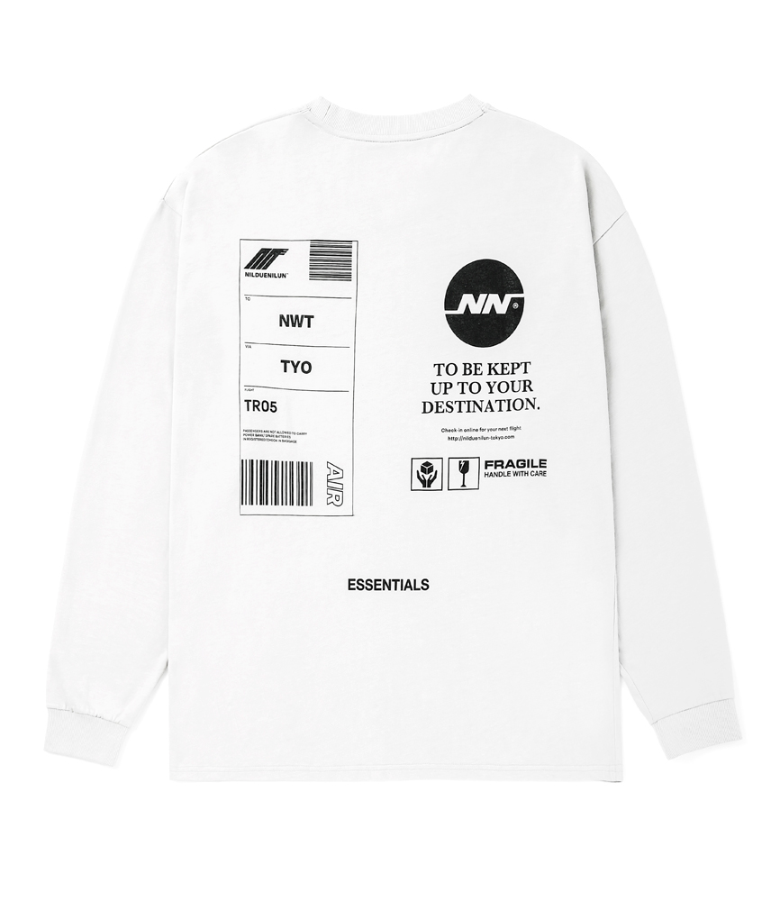 TAG LONG SLEEVE TEE / WHITE
