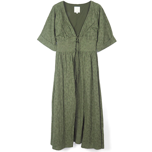Cut Jacquard Dress/KHAKI