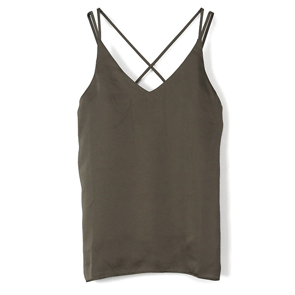 Back Cross Camisole/GRAY BEIGE