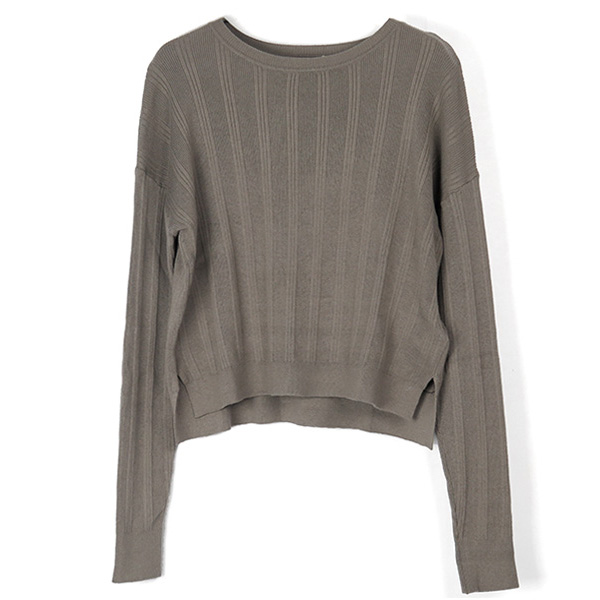 Randomrib Crewneck Knit/GRAY BEIGE
