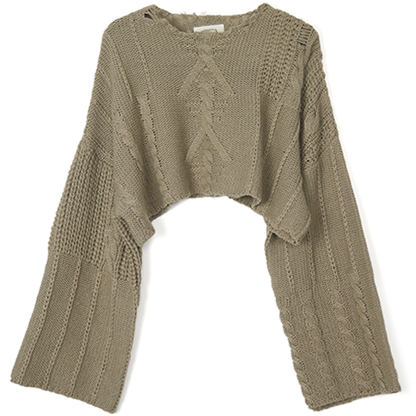 Damage Aran Knit/BEIGE