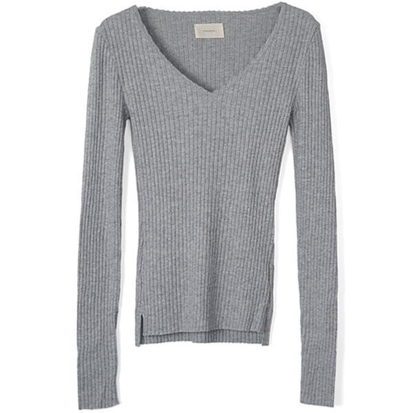 Cottonwool Vneck Tops/GRAY