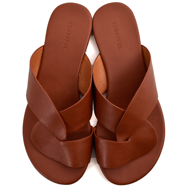 Leather Cross Sandals/TERRACOTTA