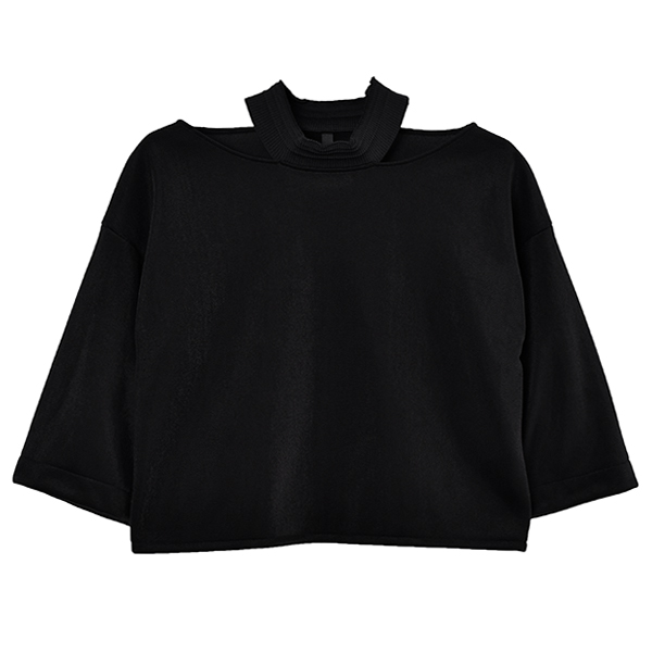 SLIT COLLAR TOPS/BLACK