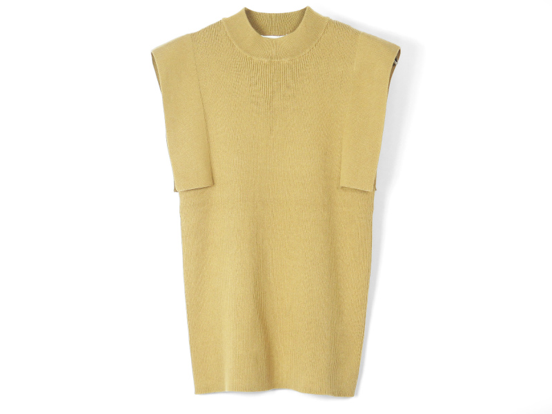 SQUARE SLEEVE KNIT TOPS/BEIGE