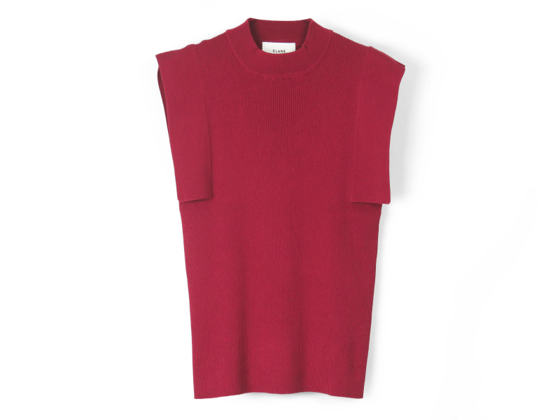 SQUARE SLEEVE KNIT TOPS/RED