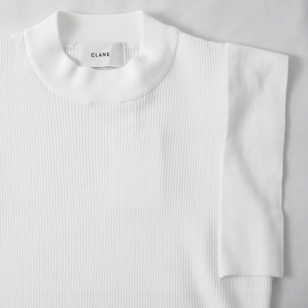 SQUARE SLEEVE KNIT TOPS/WHITE