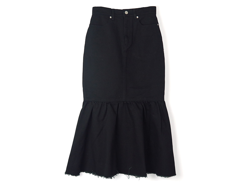 MERMAID DENIM SKIRT/BLACK