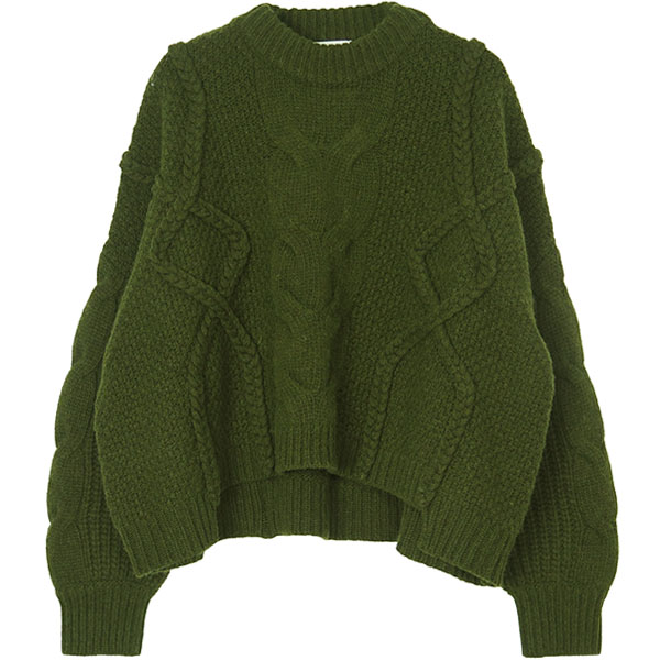 CROPPED 3D KNIT TOPS/KHAKI