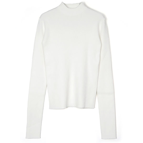 H/N RIB KNIT TOPS/WHITE