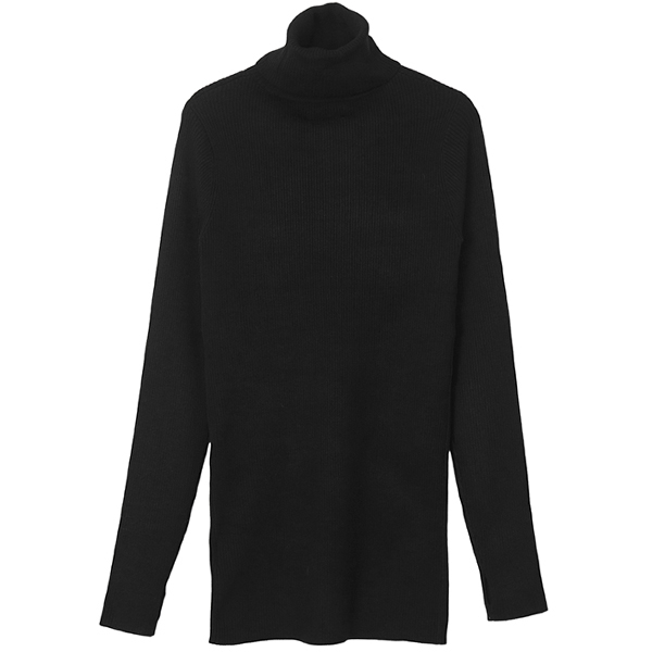 MELANGE TIGHT KNIT TOPS/BLACK