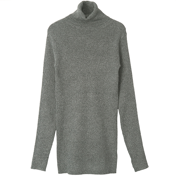 MELANGE TIGHT KNIT TOPS/GRAY