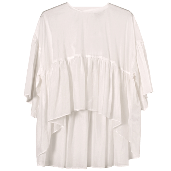 WIDE GATHER SEE THROUGH TOPS/WHITE