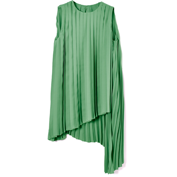 ASYMMETRY PLEATS TOPS/MINT