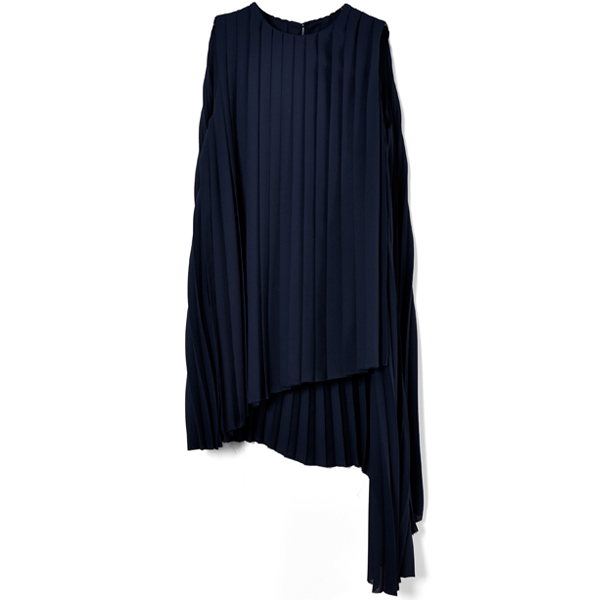 ASYMMETRY PLEATS TOPS/NAVY