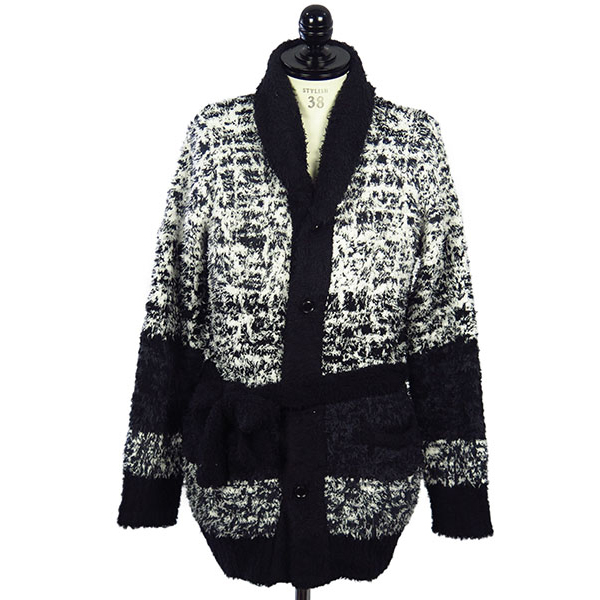 Chenille Shawl Collar Long Knit