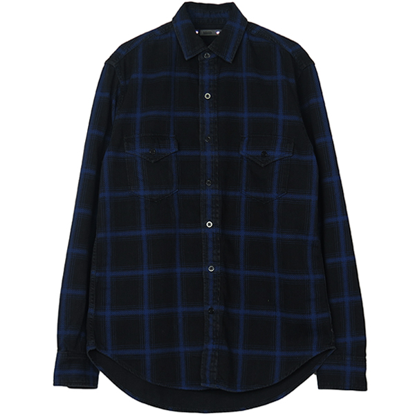 Black Denim Check Print SH M/BPT