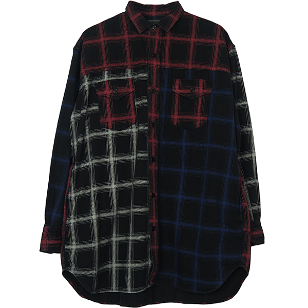 Black Denim Check Print Crazy SH M/BSP