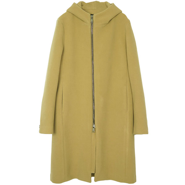 fine wool zip wrap coat/beige