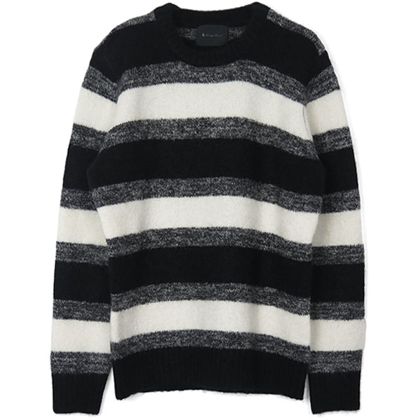 PASSION STRETCH MOHAIR ニットプルオーバー/BLACK/WHITE