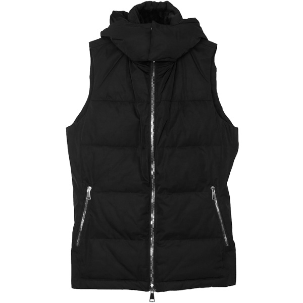 simple hooded down vest/black