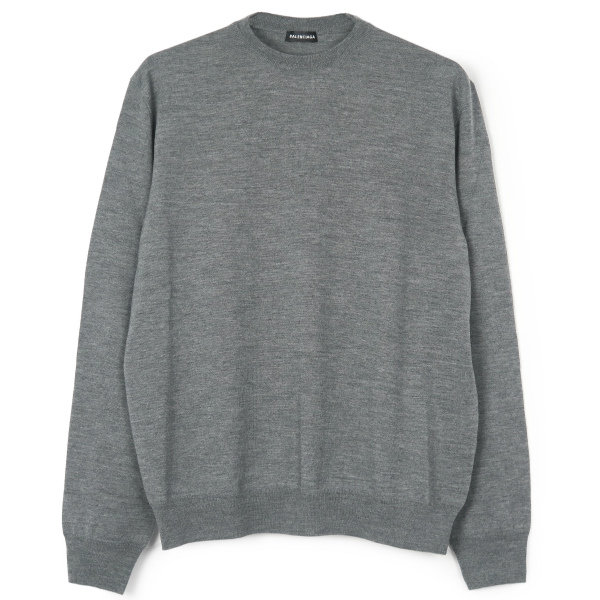 L/S CREWNECK WOOL KNIT/GREY