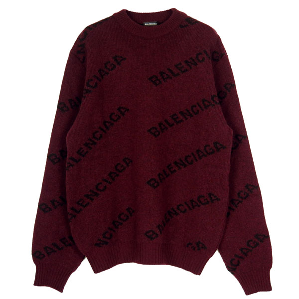 WOOL LOGO JACQUARD KNIT/BURGUNDY/BLACK