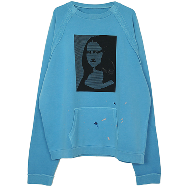 DISTRESSED SWEATSHIRT/SAX BLUE
