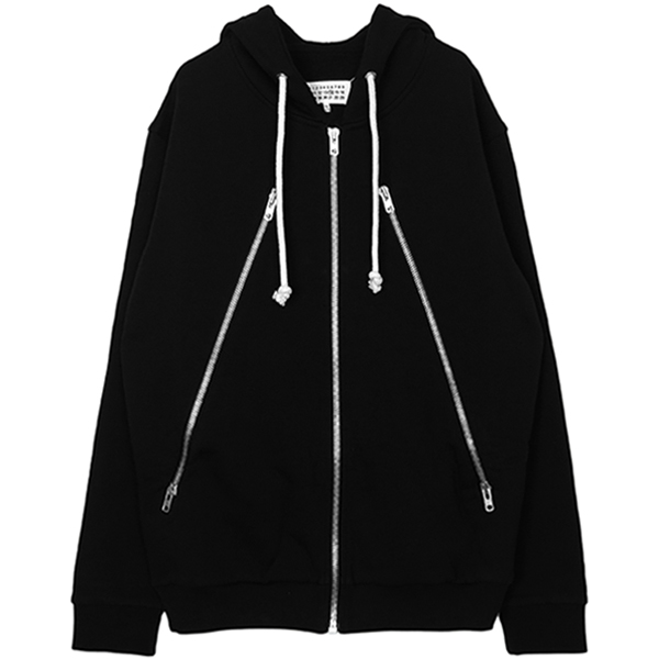 ZIPPER SWEAT PARKA/BLACK