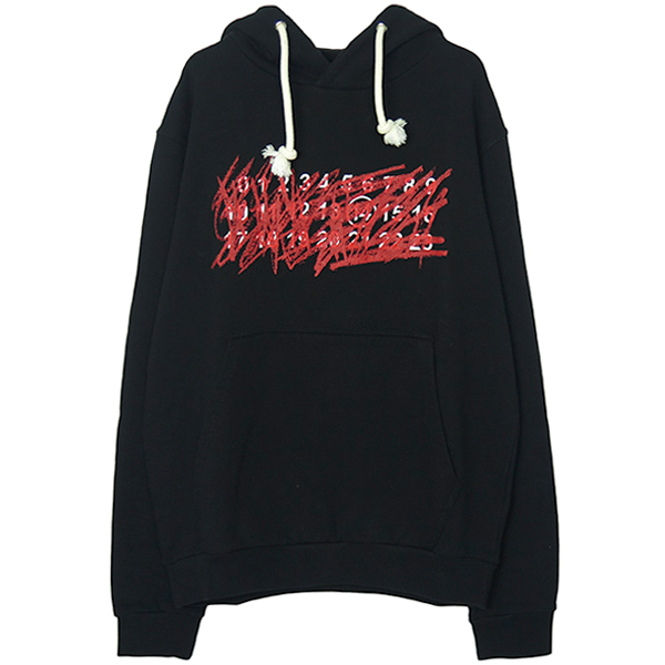 DRAWSTRING HOOD SWEATSHIRT/BLACK