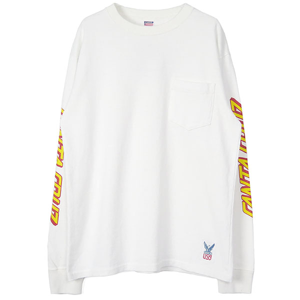 SANTA CRUZ×SD USA HEAVYWEIGHT POCKET Long Sleeve-T/WHITE