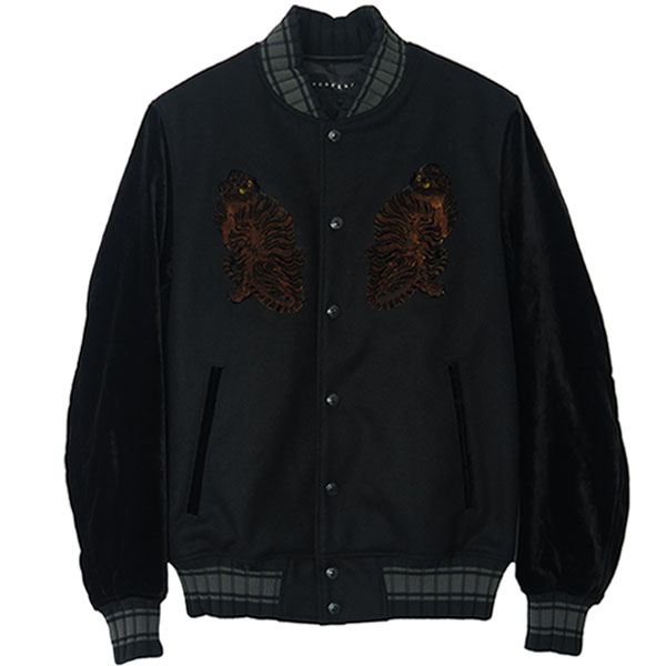 """TIGER"" FLOCKY EMBROIDERY BLOUSON/BLACK×BLACK(18FGB-10)"