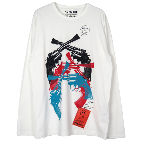 【roarguns×ONE MADE】 PISTOL L/S TEE/WHITE(18RMT-01)