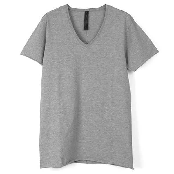 cut-off V-neck C-S S-S Tシャツ/TOP GRAY