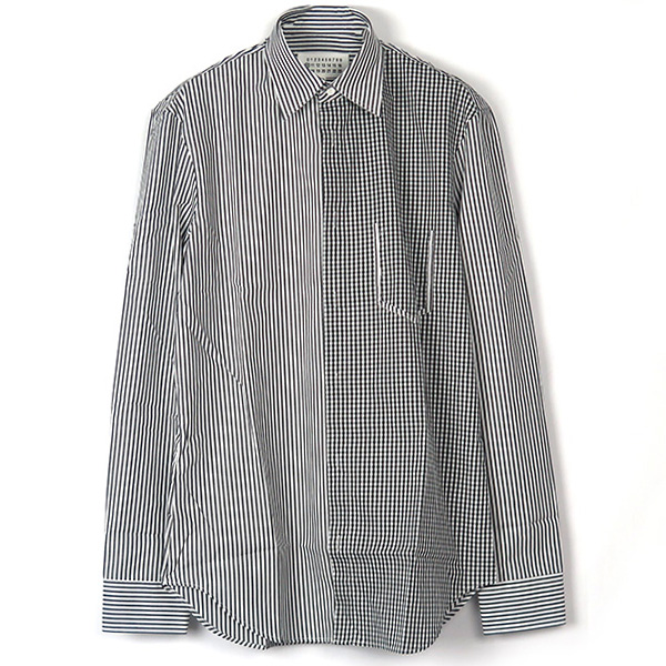 GINGHAM×STRIPE SWITCH SHIRT/WHITE/BLACK