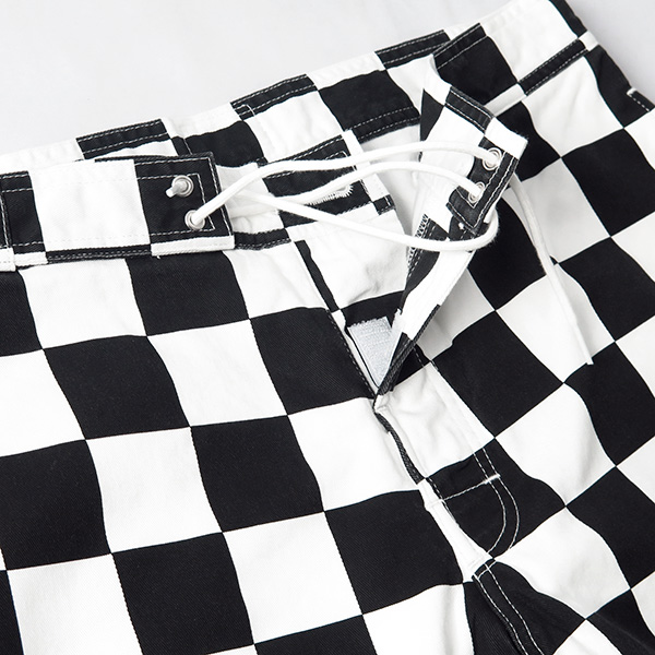 SD Checker Surf Shorts/BLACK×WHITE