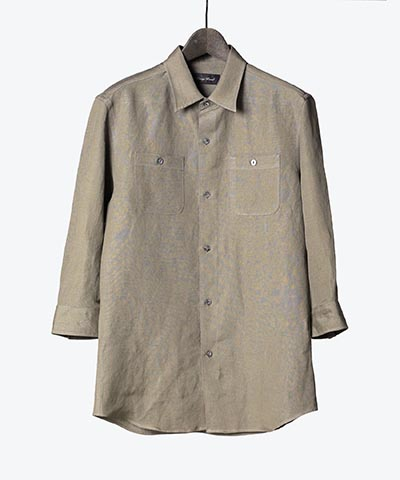RAYON/LINEN BIO WASHER MILITARY SHIRT(4286)