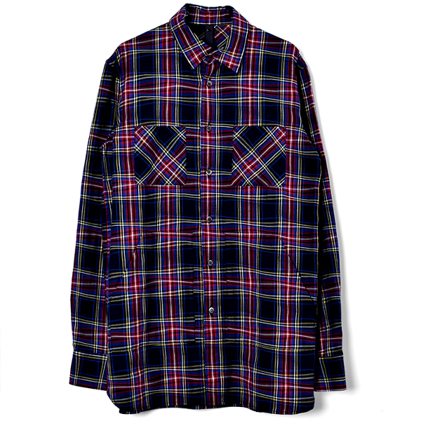 winding check long shirt/blue