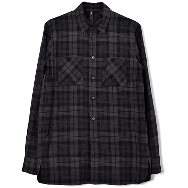 winding check long shirt/charcoal