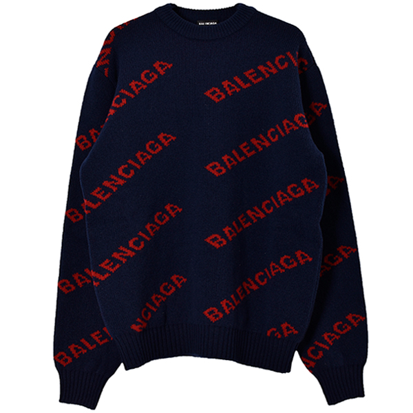 WOOL LOGO JACQUARD KNIT/NAVY/RED