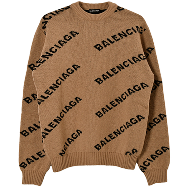 WOOL LOGO JACQUARD KNIT/BEIGE/BLACK