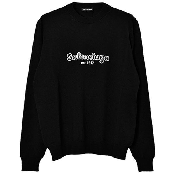 est.1917 CREW-NECK SWEATER/BLACK/WHITE