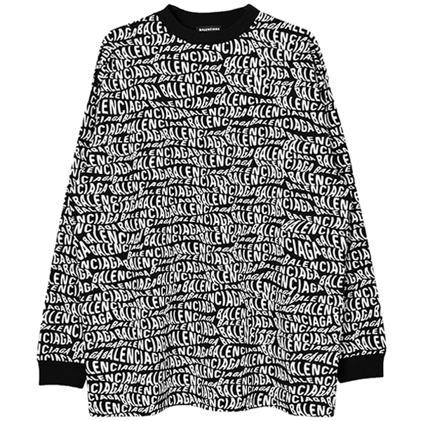 LOGO WAVE OVERSIZE L/S TEE/BLACK/WHITE