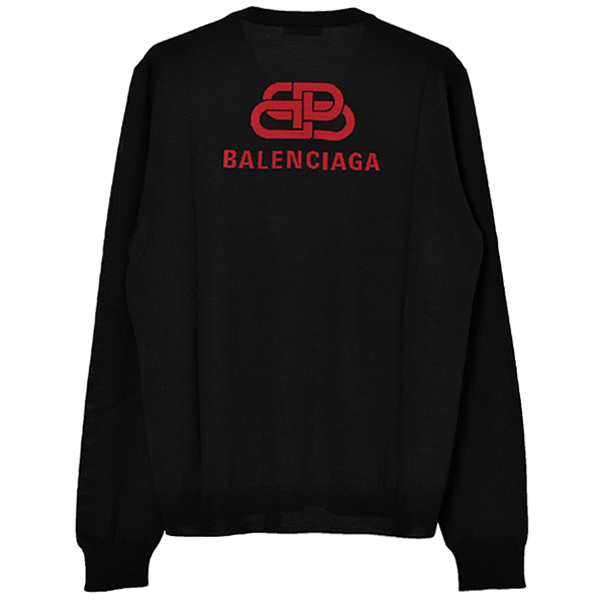 BB LOGO V-NECK SWEATER/BLACK/RED