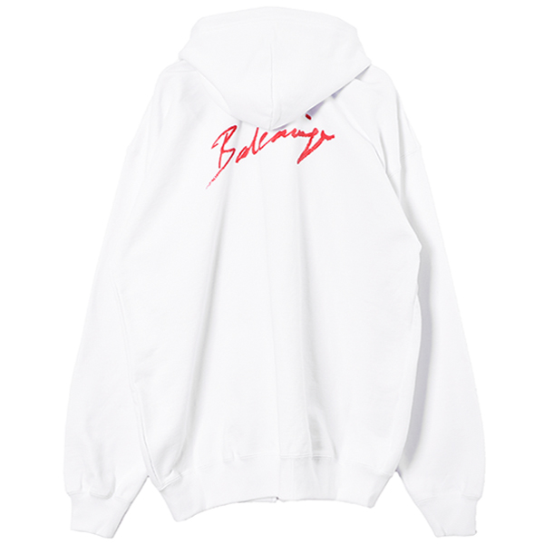 SIGN BACK LOGO ZIP HOODIE/WHITE