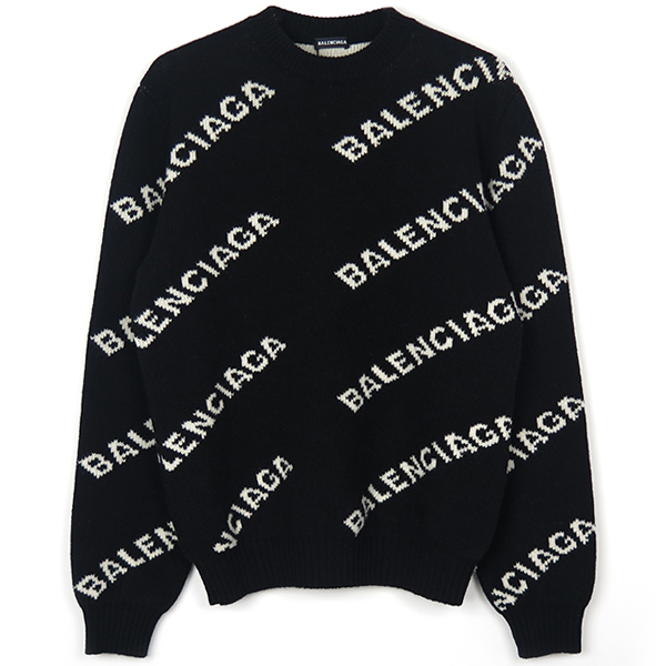 WOOL LOGO JACQUARD KNIT/BLACK/WHITE
